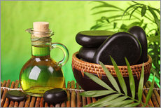 Gallery print  Spa still life with hot stones and essential oil - Elena Schweitzer