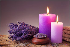 Gallery print  Spa still life with candles and lavender - Elena Schweitzer