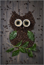 Wall Stickers  Coffee owl from beans, leaves and cups - Elena Schweitzer