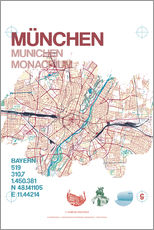 Wall Stickers  Munich city map - campus graphics