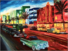 Gallery print  Miami Ocean Drive with mint Cadillac - M. Bleichner