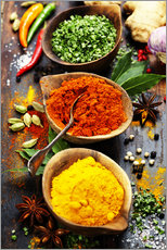Gallery print  Spices and herbs on wood