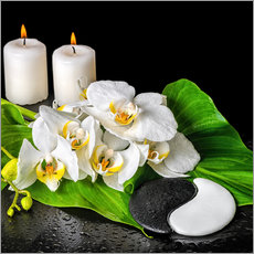 Wall sticker Spa Concept with Candles and Orchids