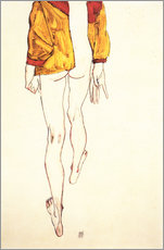 Wall sticker  Standing half naked with a brown shirt - Egon Schiele