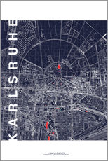 Gallery print  Karlsruhe city map at midnight - campus graphics
