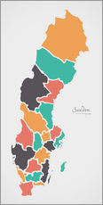 Wall sticker  Sweden map modern abstract with round shapes - Ingo Menhard