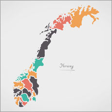 Gallery print  Norway map modern abstract with round shapes - Ingo Menhard