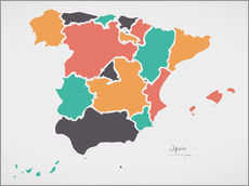 Wall sticker  Spain map modern abstract with round shapes - Ingo Menhard