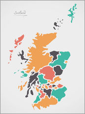 Gallery print  Scotland map modern abstract with round shapes - Ingo Menhard