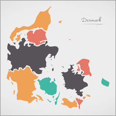 Gallery print  Denmark map modern abstract with round shapes - Ingo Menhard