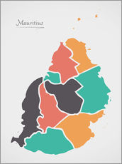 Gallery print  Mauritius map modern abstract with round shapes - Ingo Menhard