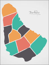 Wall sticker  Barbados map modern abstract with round shapes - Ingo Menhard