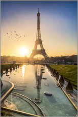 Wall sticker Romantic sunrise at the Eiffel Tower in Paris, France