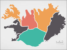 Wall sticker Iceland map modern abstract with round shapes