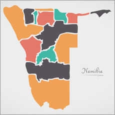 Gallery print  Namibia map modern abstract with round shapes - Ingo Menhard