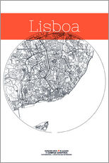 Wall sticker  Lisbon map circle - campus graphics
