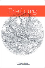 Gallery print  Freiburg map circle - campus graphics