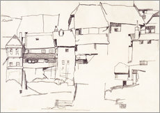 Gallery print  Old houses in Krumau - Egon Schiele