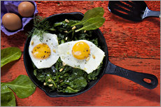 Gallery print  Breakfast pan eggs on spinach - K&L Food Style