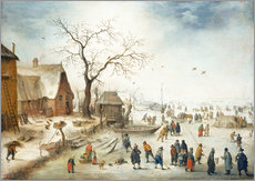 Gallery print  Village in winter with farmers on the ice - Jan Brueghel d.J.