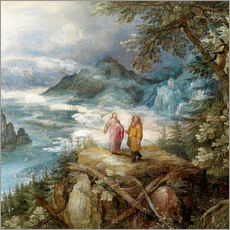 Gallery print  Wide mountain landscape with the temptation of Christ - Jan Brueghel d.Ä.