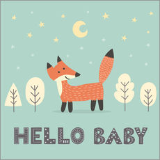 Gallery print  A little fox standing in the forest - Kidz Collection