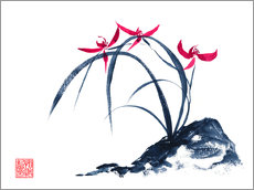 Wall sticker rote Orchidee
