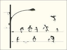Wall sticker  PENGUINS ON A WIRE - Jazzberry Blue
