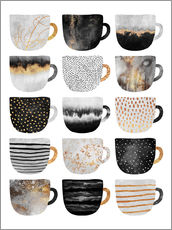 Gallery print  Pretty coffee cups 3 in white - Elisabeth Fredriksson