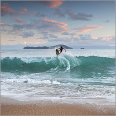 Wall sticker  Surfing at sunset in paradise - Alex Saberi