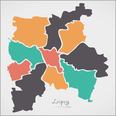 Gallery print  Leipzig city map modern abstract with round shapes - Ingo Menhard