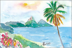 Wall sticker  St Lucia Caribbean Dreams With Sunset and Pitons Peaks - M. Bleichner