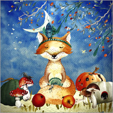Wall sticker woodland friends in autumn- the fox
