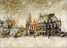 Gallery print  Bremen market marketplace modern and abstract - Michael artefacti