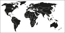 Wall sticker  World map black and white