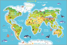 Gallery print  World map with animals - Kidz Collection