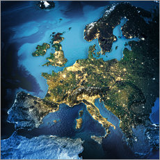 Wall sticker  Europe from space, NASA 3D rendering