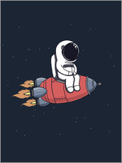 Wall sticker Little astronaut with rocket