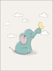 Gallery print  Little Elephant with Butterfly - Kidz Collection