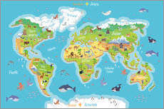 Wall sticker  World map for children (German) - Kidz Collection