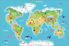 Wall sticker  World map for children (French) - Kidz Collection