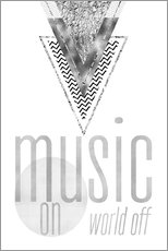 Gallery print  GRAPHIC ART SILVER Music on World Off - Melanie Viola
