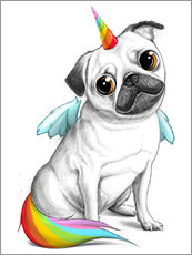 Wall sticker  Pug unicorn - Nikita Korenkov