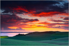 Wall sticker  Rolling green hills and lake at sunset - Mark Scheper