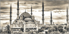 Wall sticker  Blue mosque in sepia