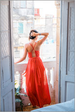 Gallery print  Young attractive woman in red dress