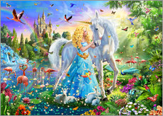 Wall sticker  The Princess, the unicorn and the castle - Adrian Chesterman
