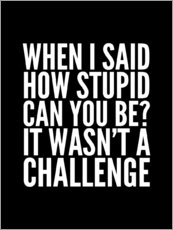 Gallery print  When I Said How Stupid Can You Be It Wasn't a Challenge - Creative Angel