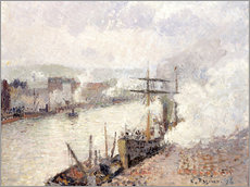 Gallery print  Steamboats in the Port of Rouen - Camille Pissarro