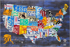 Gallery print  License Plate Map of the USA - Design Turnpike